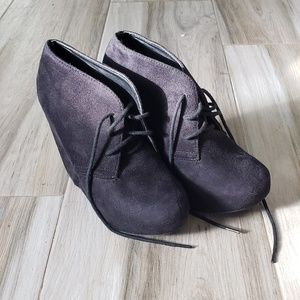 SODA | Black Suede Wedges sz 7 1/2